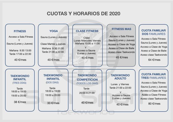 CUOTAS Y HORARIOS 2020